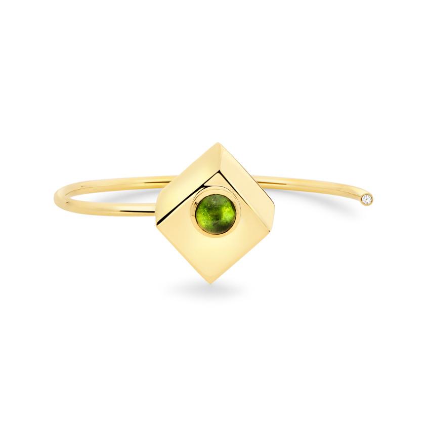 18k Yellow Gold Green Tourmaline Cuff – Deco Square Cuff – White Diamond | Yael Sonia