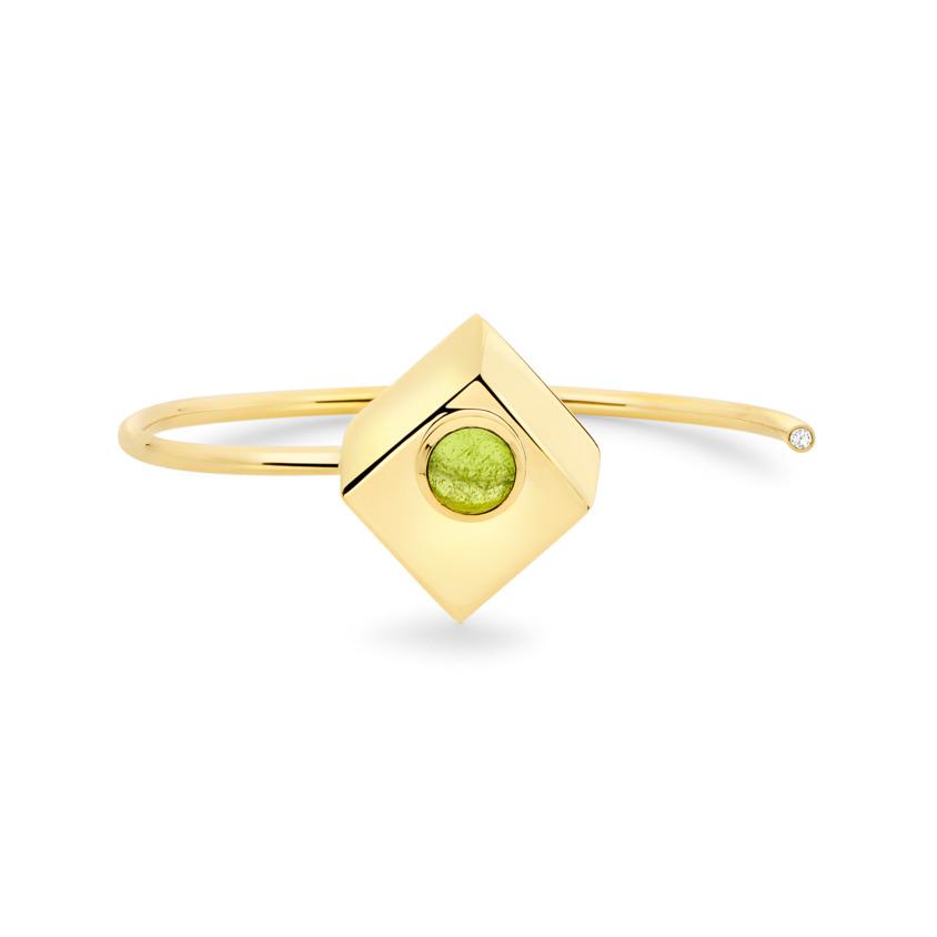 18k Yellow Gold Peridot Cuff – Deco Square Cuff – White Diamond | Yael Sonia