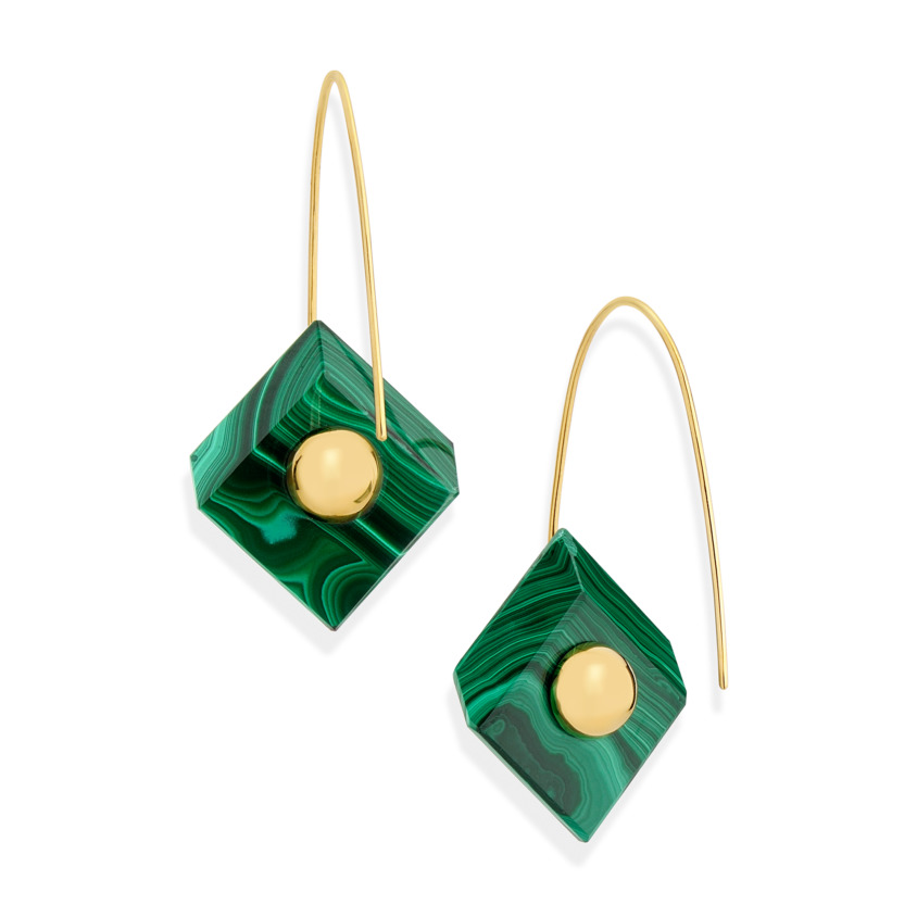 18k Yellow Gold, Square Malachite Earrings – Reverse Fit Square Earrings | Yael Sonia