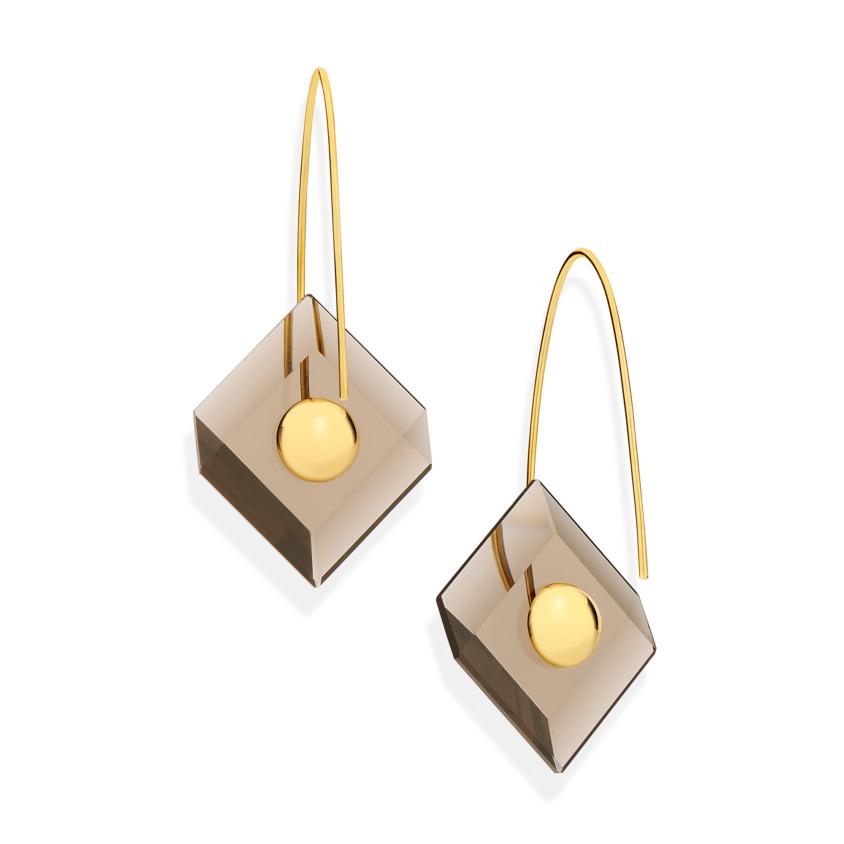 18k Yellow Gold, Square Smoky Quartz Earrings – Reverse Fit Square Earrings | Yael Sonia