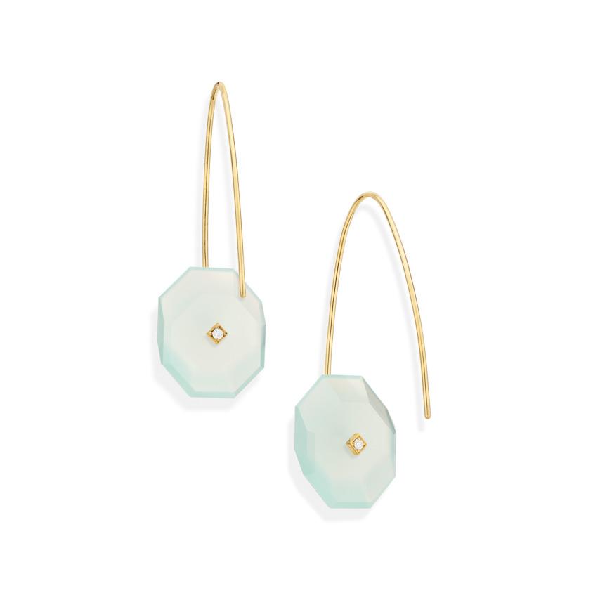 Gold, 0.03 carat Diamond & Small Aqua Chalcedony Earrings – Reverse Fit Small Octagon Earrings | Yael Sonia