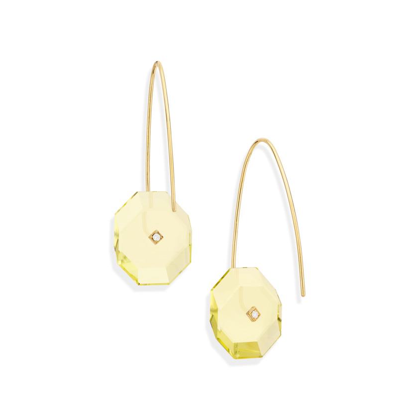 Gold, 0.03 carat Diamond & Small Lemon Quartz Earrings – Reverse Fit Small Octagon Earrings | Yael Sonia