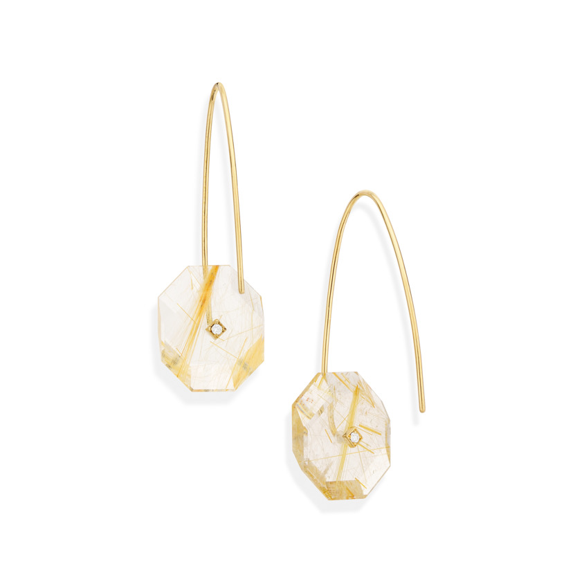 Gold, 0.03 carat Diamond & Small Gold Rutilated Quartz Earrings – Reverse Fit Small Octagon Earrings | Yael Sonia