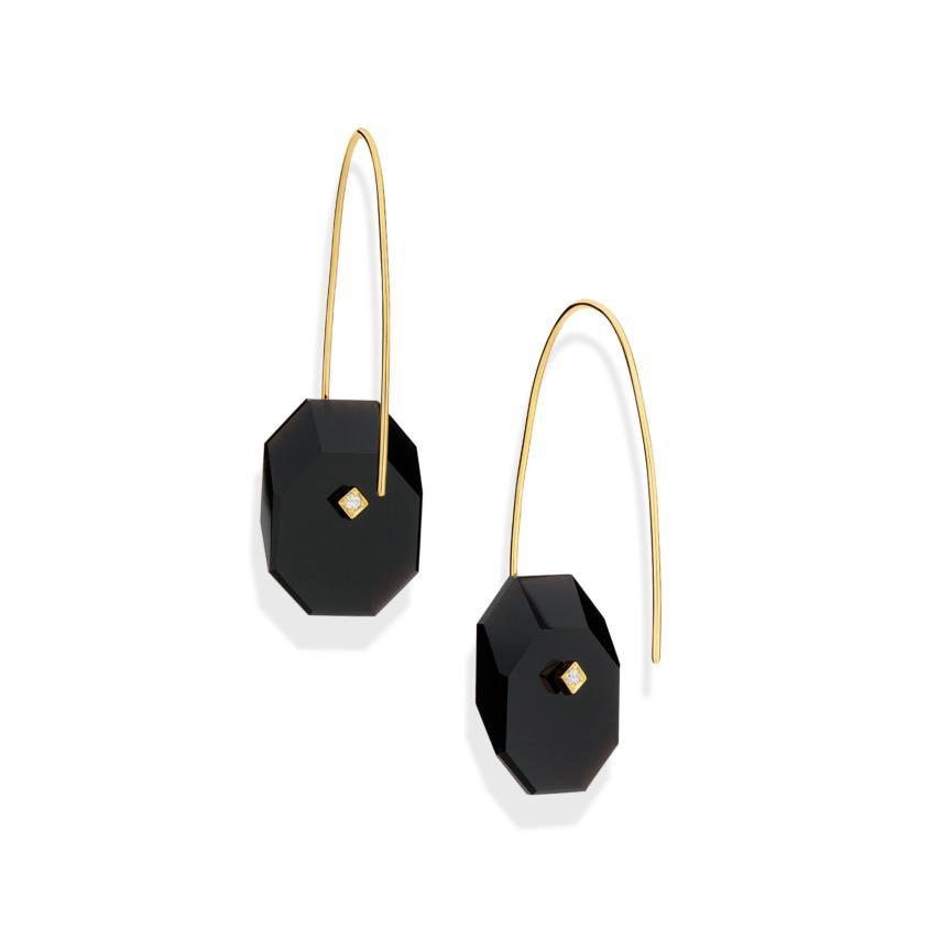 Gold, 0.03 carat Diamond & Small Onyx Earrings – Reverse Fit Small Octagon Earrings | Yael Sonia