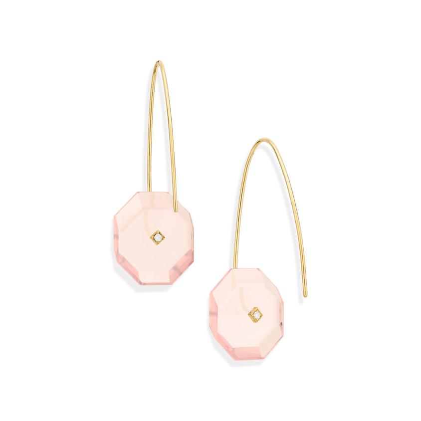 Gold, 0.03 carat Diamond & Small Rose Quartz Earrings – Reverse Fit Small Octagon Earrings | Yael Sonia