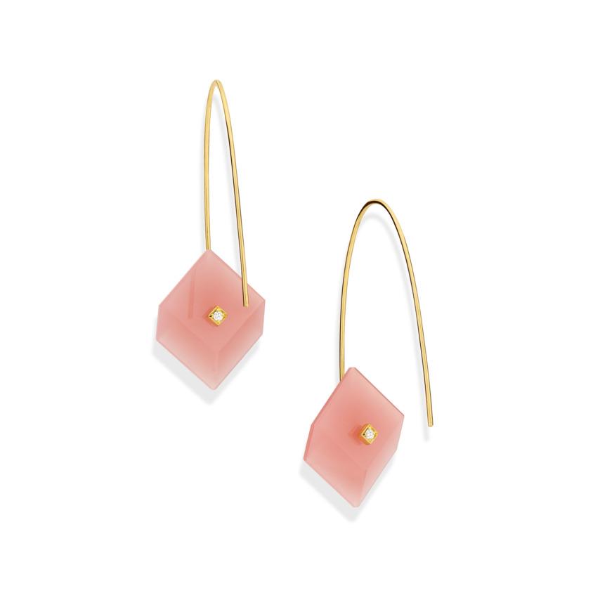 Gold, 0.03 carat Diamond & Square Guava Quartz Earrings – Reverse Fit Small Square Earrings | Yael Sonia