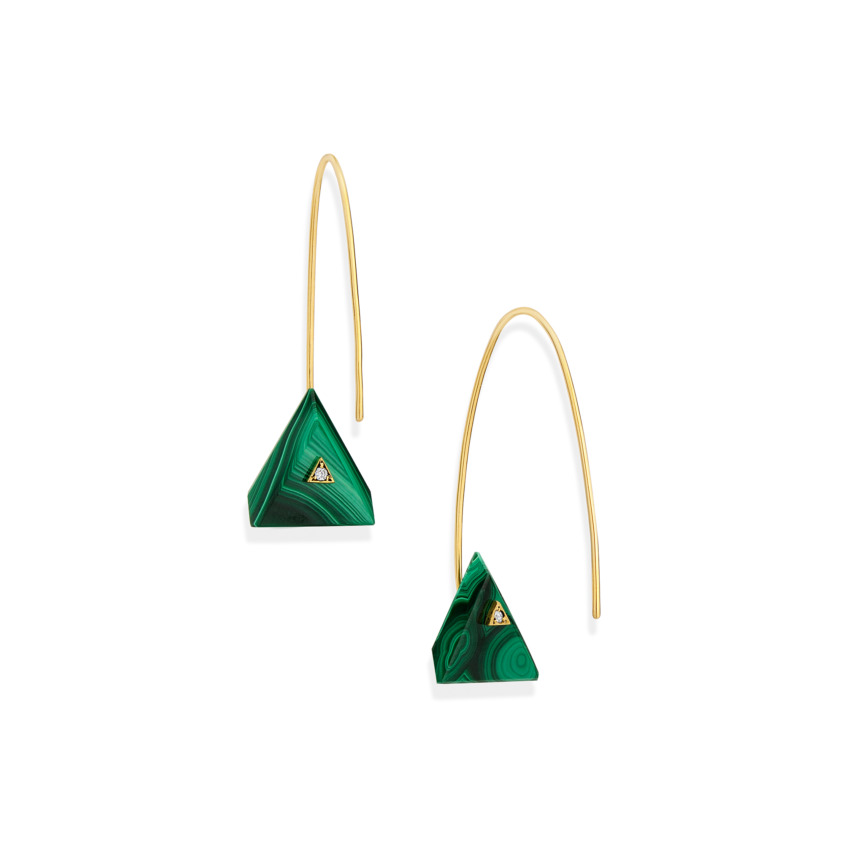 18k Yellow Gold, Triangle Malachite Earrings – Reverse Fit Triangle Earrings | Yael Sonia