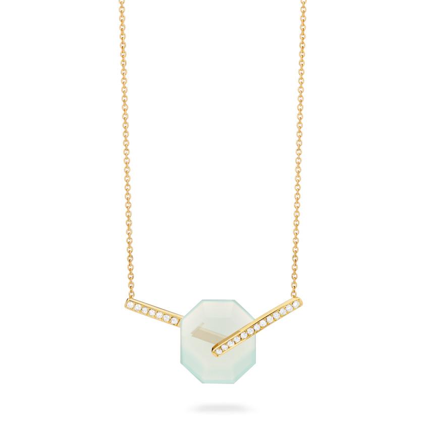 Small Diamond & Aqua Chalcedony Necklace Gold – Deco Small Octagon Necklace   Yael Sonia