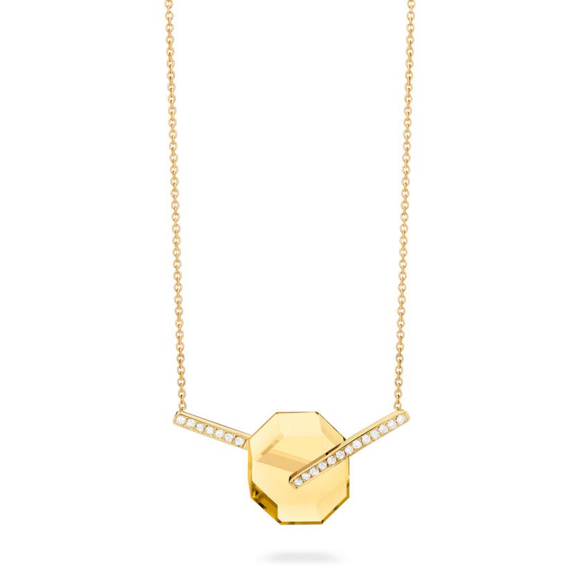 Small Diamond & Citrine Necklace Gold – Deco Small Octagon Necklace | Yael Sonia