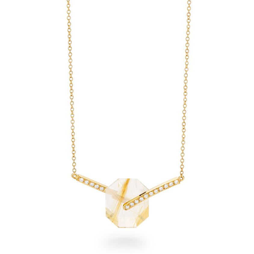 Small Diamond & Gold Rutilated Quartz Necklace Gold – Deco Small Octagon Necklace   Yael Sonia
