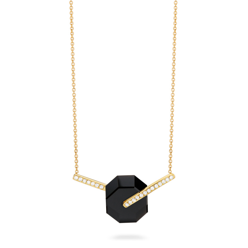 Small Diamond & Onyx Necklace Gold – Deco Small Octagon Necklace   Yael Sonia