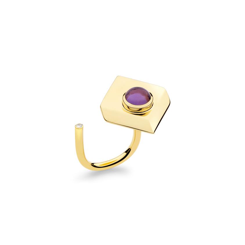 18k Yellow Gold Dark Amethyst Ring – Deco Square Ring – White Diamond | Yael Sonia