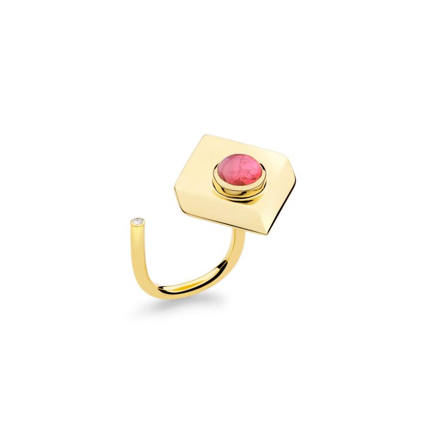 18k Yellow Gold Pink Tourmaline Ring – Deco Square Ring – White Diamond | Yael Sonia