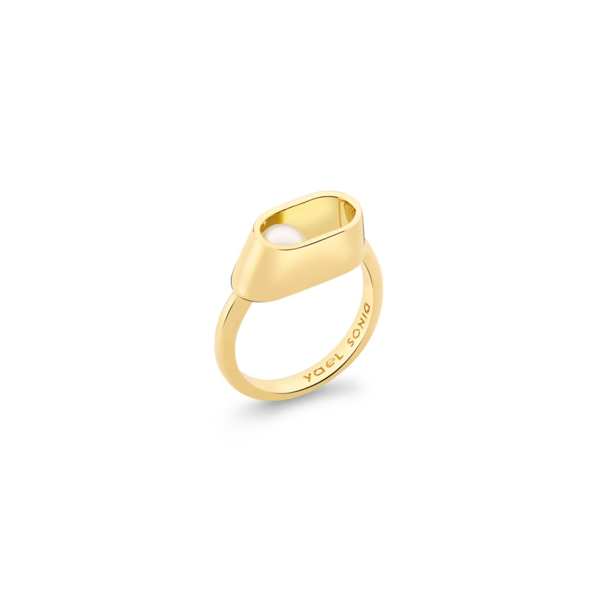 18k Yellow Gold 6mm Akoya Pearl Ring – Ellipse Ring | Yael Sonia