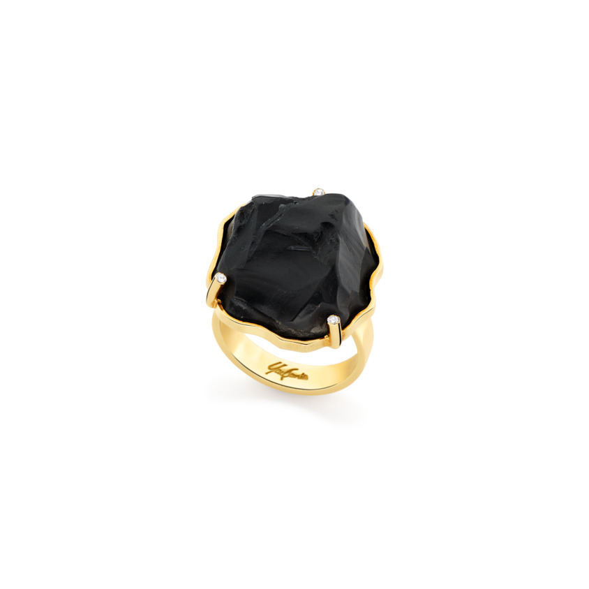 Yellow Gold, Diamond & Onyx Cocktail Ring – Hammered Cocktail Ring | Yael Sonia