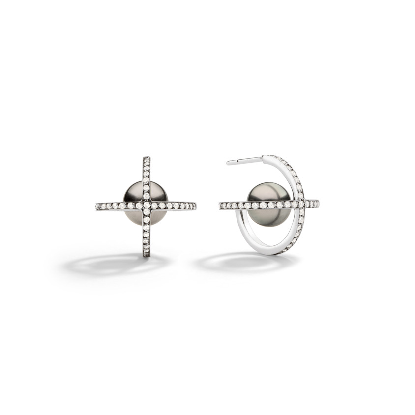 Suspended 9mm Tahitian Pearl Earrings – Polaris Earrings White Gold | Yael Sonia