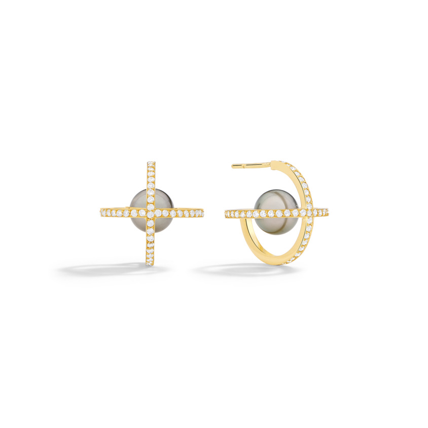 Suspended 9mm Tahitian Pearl Earrings – Polaris Earrings Gold | Yael Sonia