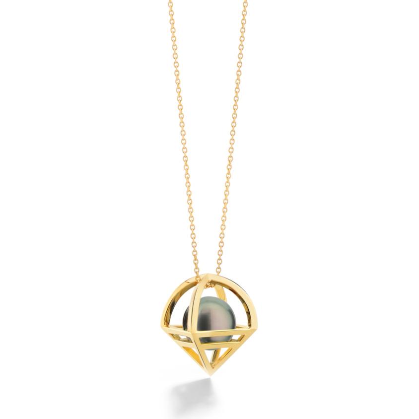 Geometric 18k Gold Iridescent Tahitian Pearl Necklace – Solar Large Pendant | Yael Sonia