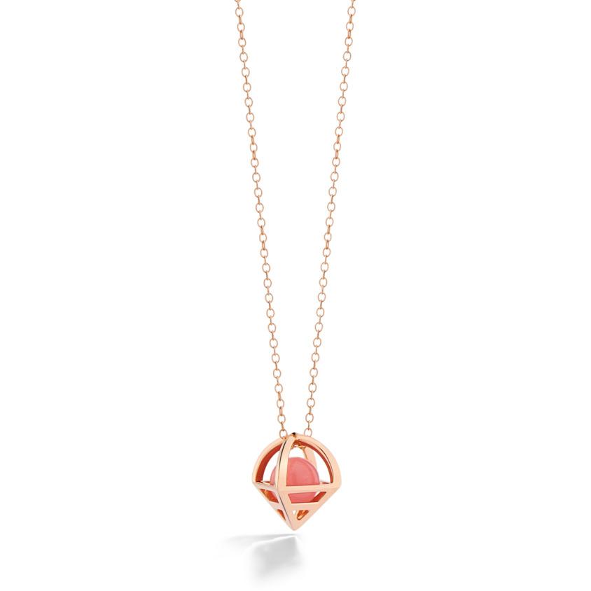 18k Rose Gold Geometric Guava Quartz Necklace – Solar Small Pendant | Yael Sonia