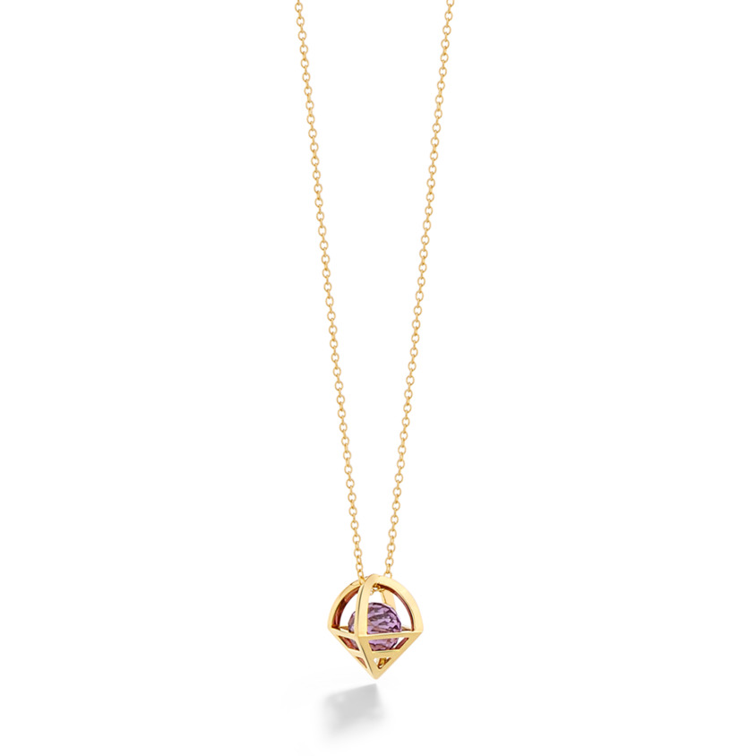 18k Gold Geometric Faceted Amethyst Necklace – Solar Small Pendant | Yael Sonia