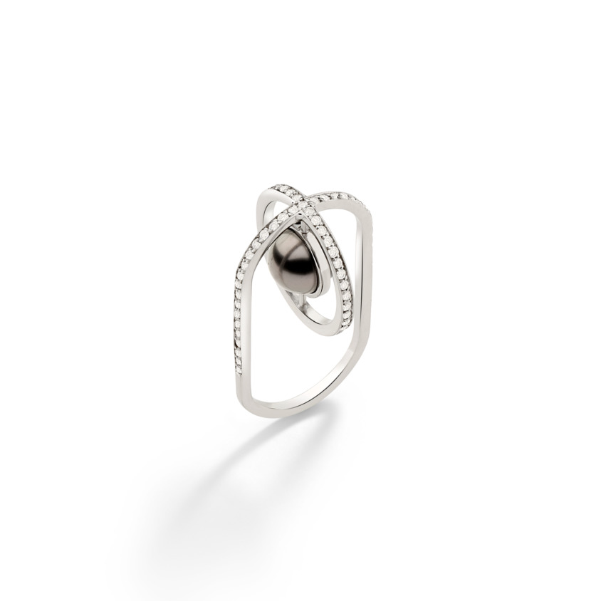Suspended 9mm Tahitian Pearl Ring – Polaris Oval Ring White Gold | Yael Sonia