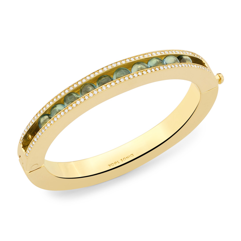 18k Gold Blue Topaz & Diamond Bracelet – Simple Curve Bracelet | Yael Sonia