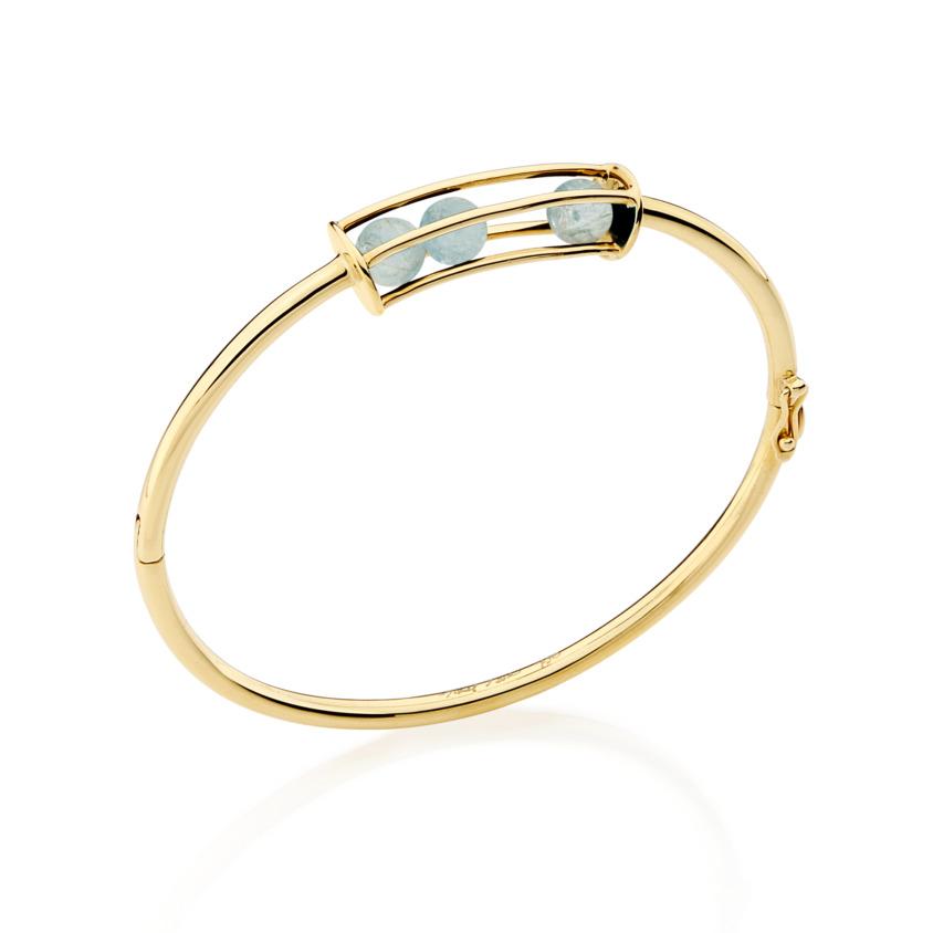 18k Gold Spinning Aquamarine Bracelet – Small Spinning Oval Bracelet | Yael Sonia