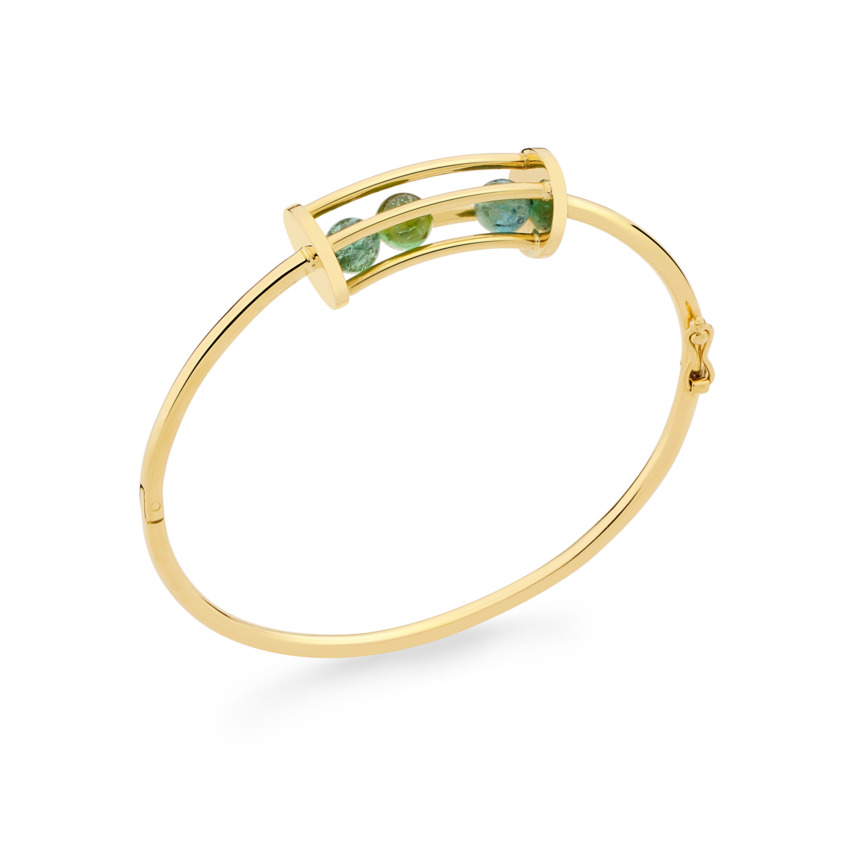 18k Gold Spinning Green Tourmaline Bracelet – Small Spinning Oval Bracelet | Yael Sonia