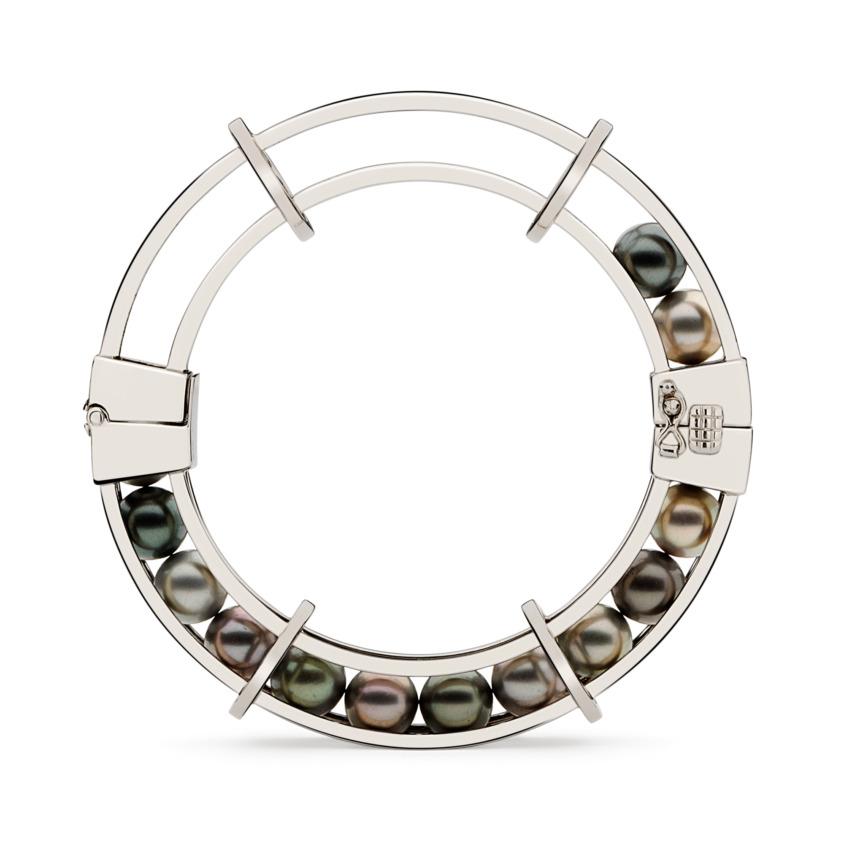 18k White Gold Tahitian Pearl Spinning Bracelet – Spinning Wheel Bracelet | Yael Sonia