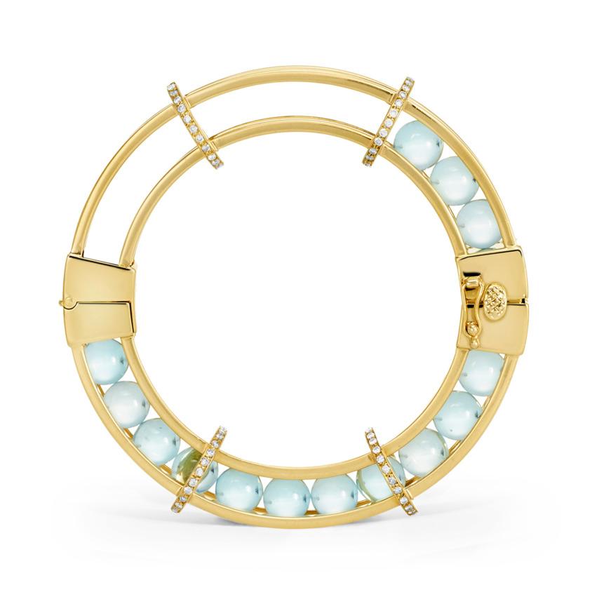 Gold 1 carat Diamonds & Blue Topaz Spinning Bracelet – Spinning Wheel Bracelet | Yael Sonia