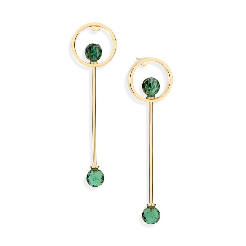 18k Yellow Gold Green Tourmaline Drop Earrings – Circle Earrings   Yael Sonia