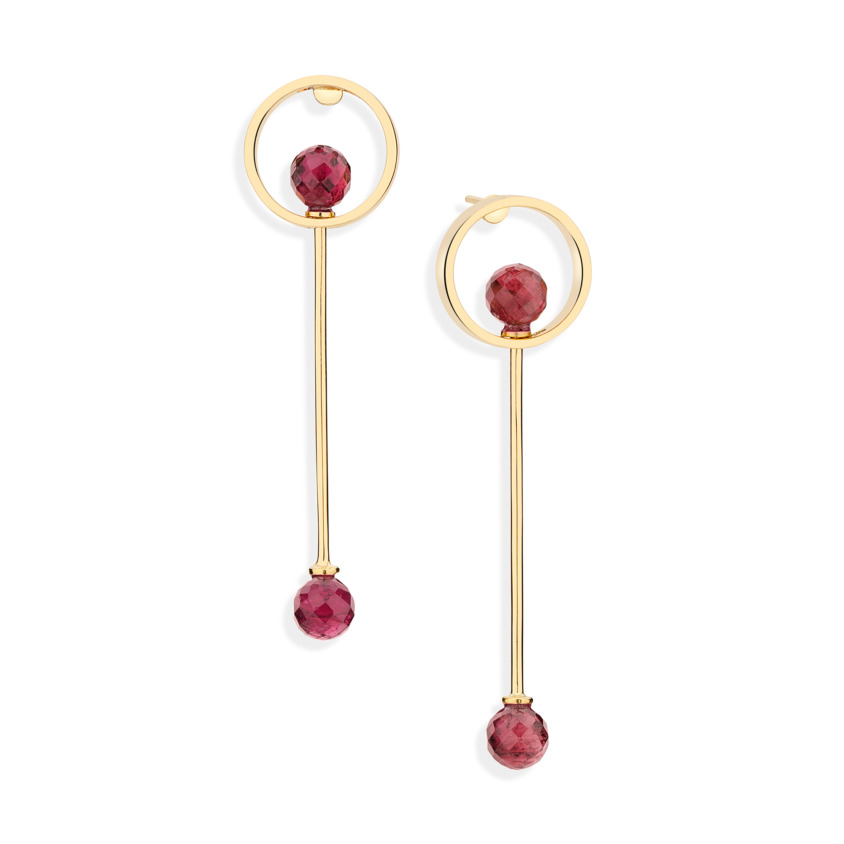 18k Yellow Gold Pink Tourmaline Drop Earrings – Circle Earrings | Yael Sonia