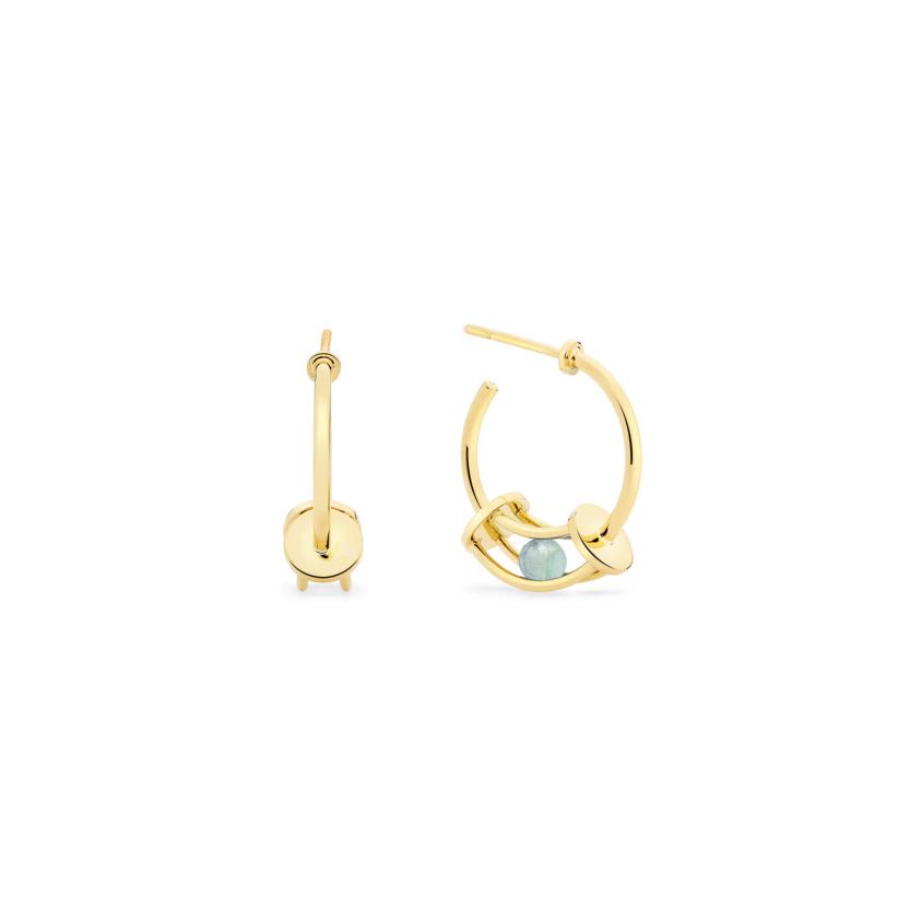 18k Gold Perpetual Motion Aquamarine Hoop Earrings – Simple Curve Small Hoop Earrings | Yael Sonia