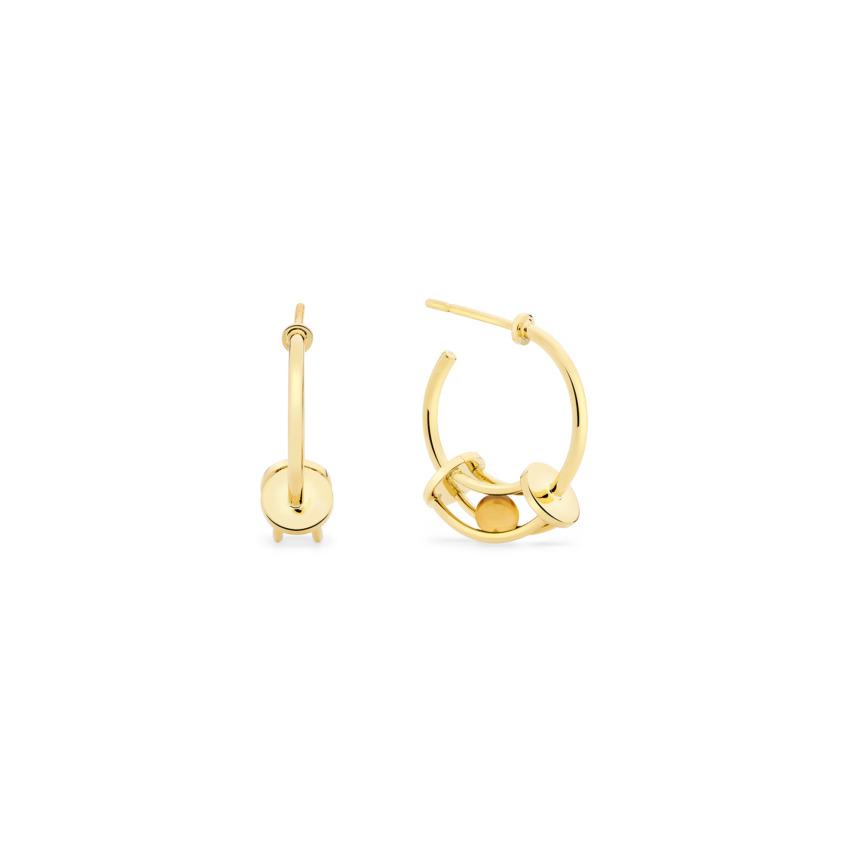 18k Gold Perpetual Motion Citrine Hoop Earrings – Simple Curve Small Hoop Earrings   Yael Sonia