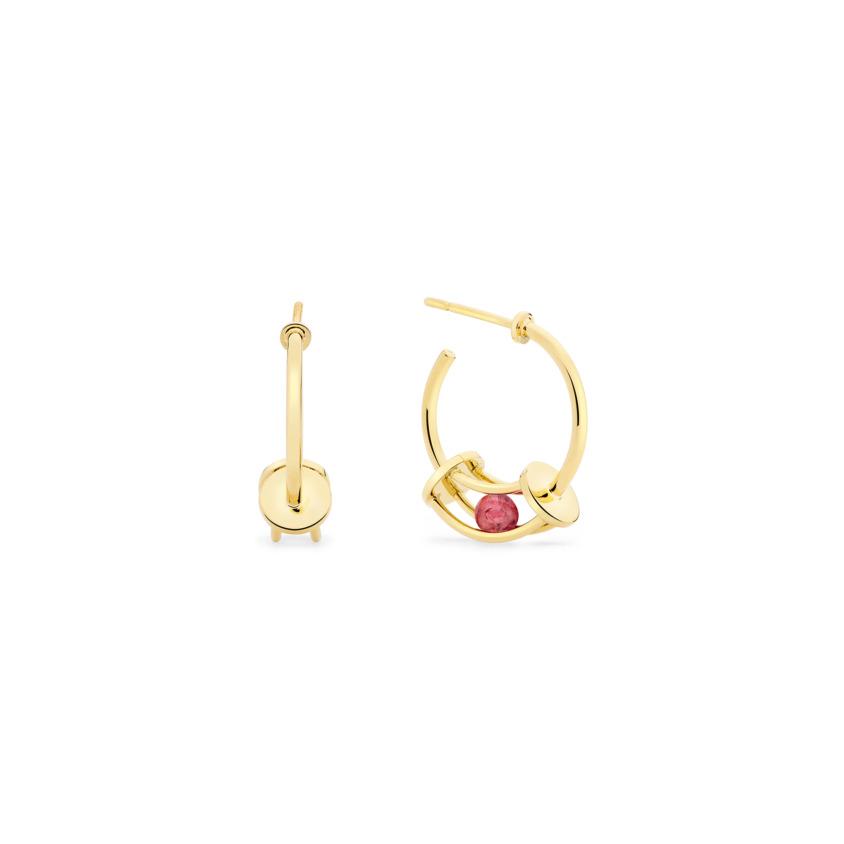 18k Gold Perpetual Motion Pink Tourmaline Hoop Earrings – Simple Curve Small Hoop Earrings | Yael Sonia