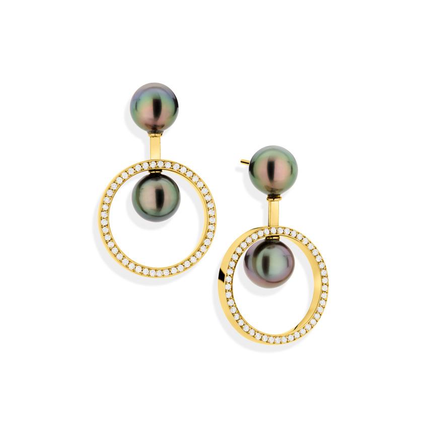 Gold Diamonds & Tahitian Pearls Dangle Earrings – Swinging Circles Earrings | Yael Sonia
