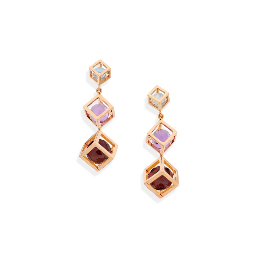 Rose Gold Tiered Gemstone Drop Earrings – Amethyst, Aquamarine & Pink Tourmaline Earrings | Yael Sonia