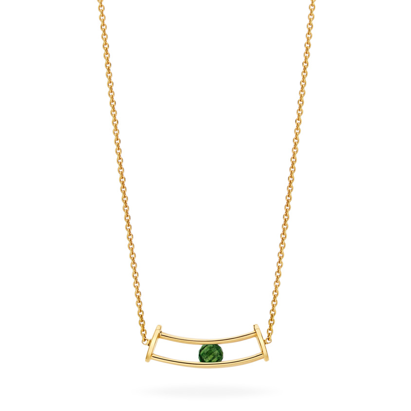 18k Gold Green Tourmaline Necklace – Simple Curve Necklace | Yael Sonia