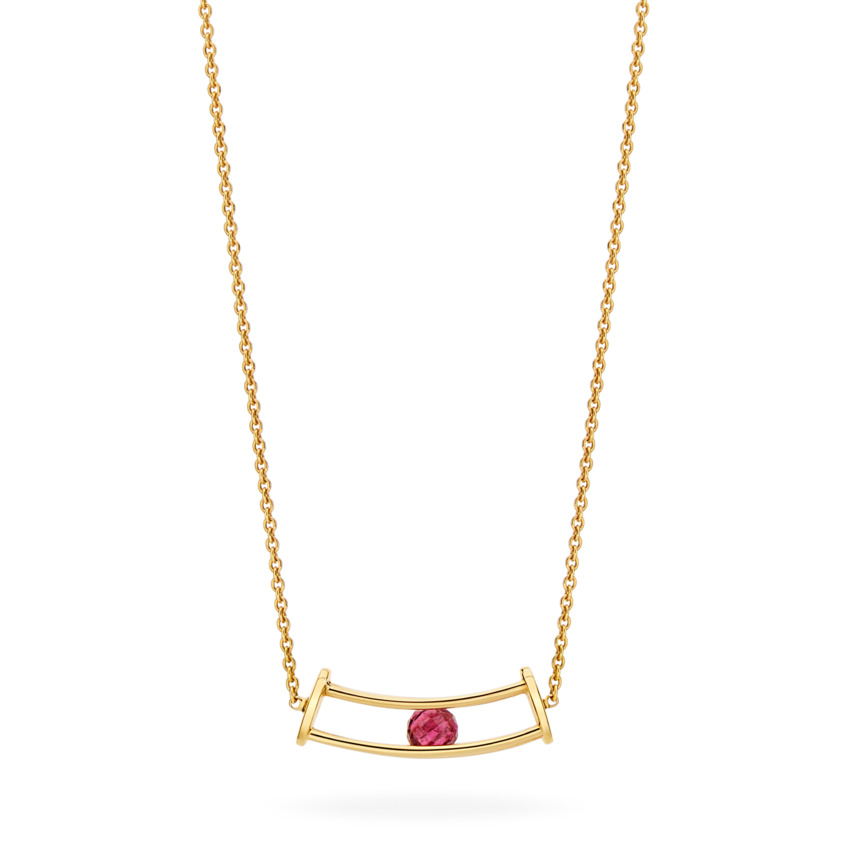 18k Gold Faceted Rubellite Necklace – Simple Curve Necklace | Yael Sonia
