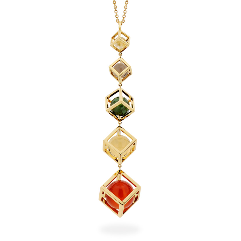 Multi Gemstone Necklace – Solo Long Tiered Pendant – 18k Yellow Gold, Gold Rutilated Quartz, Smoky Quartz, Green Tourmaline, Citrine and Carnelian. | Yael Sonia