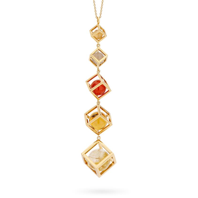 Multi Gemstone Necklace – Solo Long Tiered Pendant – 18k Yellow Gold, Gold Rutilated Quartz, Smoky Quartz, Carnelian and Citrine | Yael Sonia