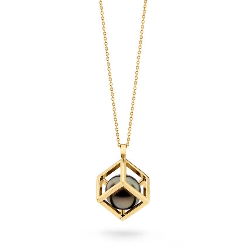 Gold, Perfectly Round, Spherical Tahitian Pearl Necklace – Solo 15mm Pendant | Yael Sonia