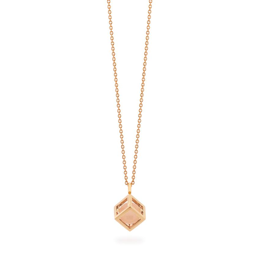 18k Rose Gold Small Round Rose Quartz Perpetual Motion Necklace – Solo Pendant 8mm | Yael Sonia
