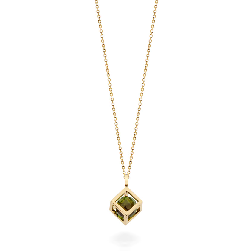 18k Gold Small Round Green Tourmaline Perpetual Motion Necklace – Solo Pendant 8mm | Yael Sonia