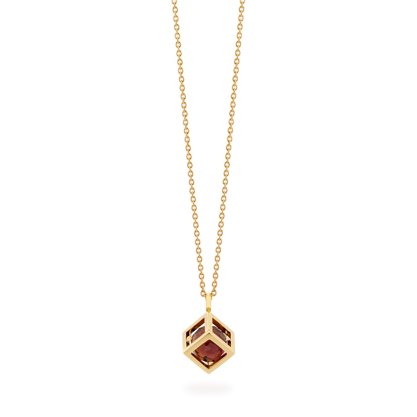 18k Gold Small Round Pink Tourmaline Perpetual Motion Necklace – Solo Pendant 8mm | Yael Sonia