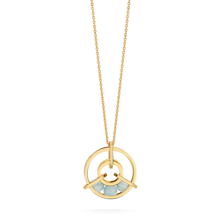 Perpetual Spinning 18k Gold Aquamarine Necklace – Small Spinning Wheel Pendant | Yael Sonia