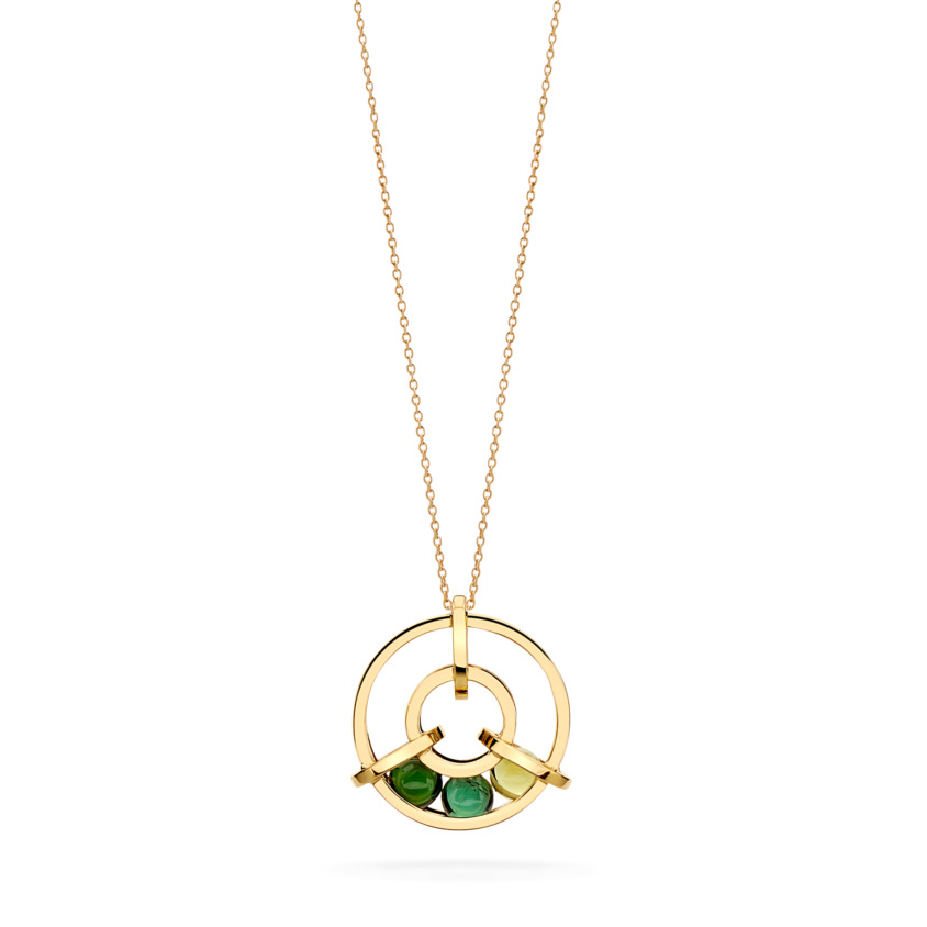 Perpetual Spinning 18k Gold Green Tourmaline Necklace – Small Spinning Wheel Pendant | Yael Sonia