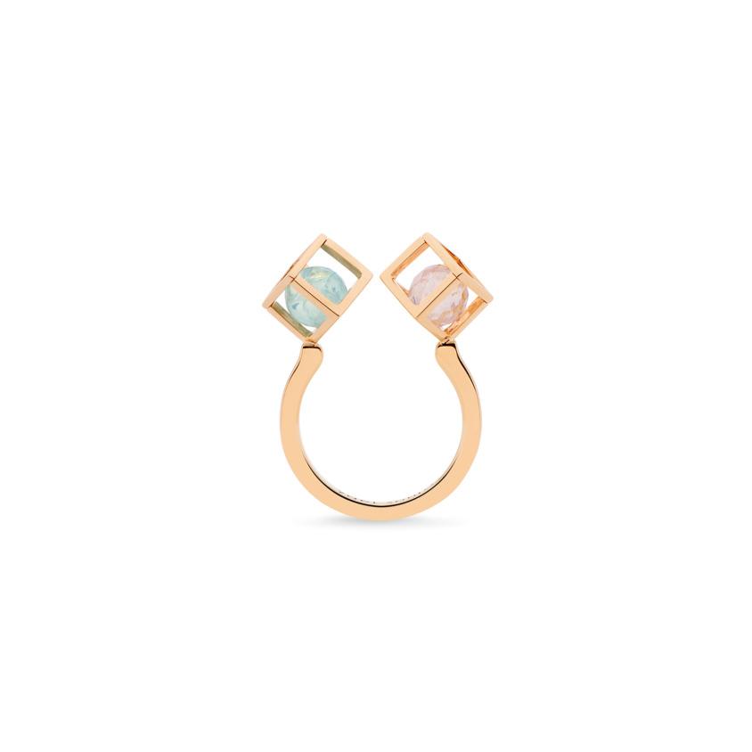 Rose Gold Aquamarine & Morganite Stacking Ring – Duo Solo 6mm Stacking Ring | Yael Sonia