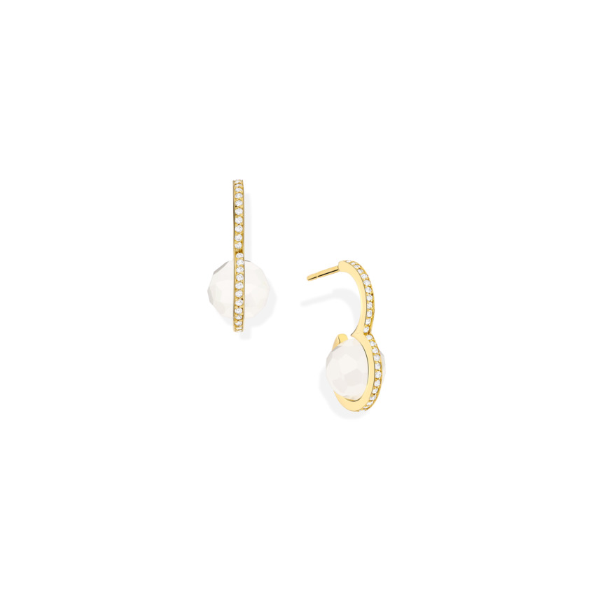 Diamond & Faceted Milky Quartz Drop Earrings – DNA Earrings Gold | Yael Sonia