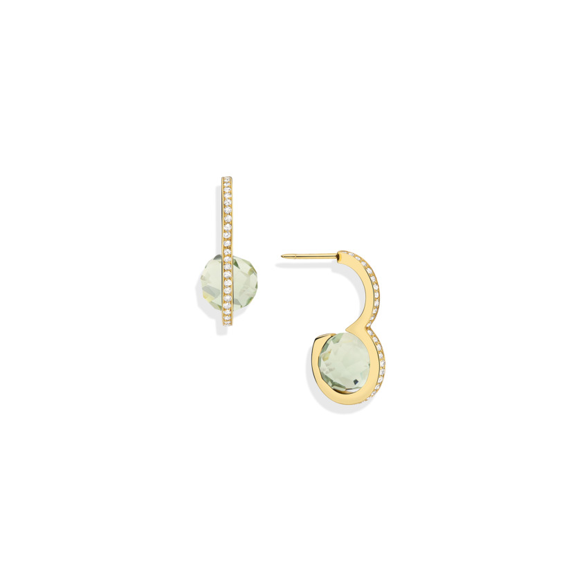 Diamond & Faceted Prasiolite Drop Earrings – DNA Earrings Gold | Yael Sonia